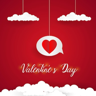 Fond de saint valentin, style art papier, coeur dans la bulle de dialogue avec des nuages