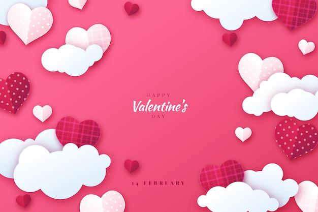 Fond de saint valentin en style papier