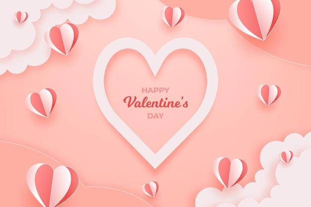 Fond de la saint-valentin en style papier
