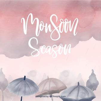 Fond de saison de mousson dans un style aquarelle