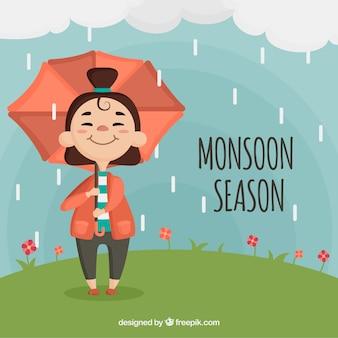 Fond de saison de la mousson avec une fille