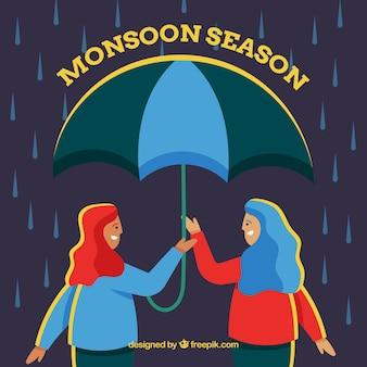 Fond de saison de la mousson avec les filles