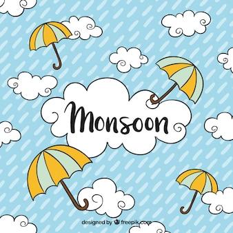 Fond de saison de la mousson avec des nuages et des parapluies