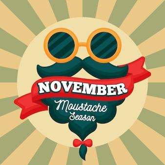 Fond de saison de moustache vintage movember