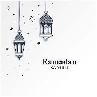 Fond de saison ramadan kareem avec lampes suspendues