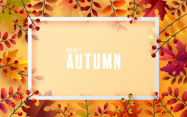 Fond saisonnier de vacances d'automne avec des feuilles d'automne colorées sur fond de couleur
