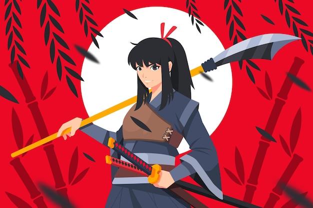 Fond de samouraï design plat