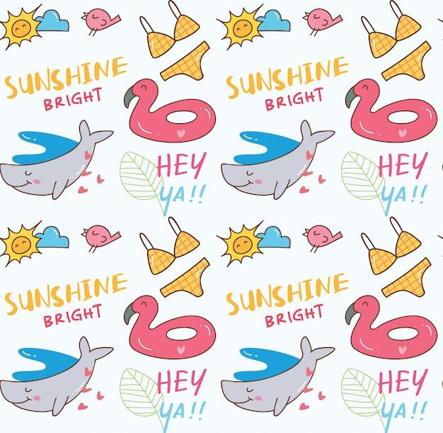 Fond sans couture d'été sur le thème doodle