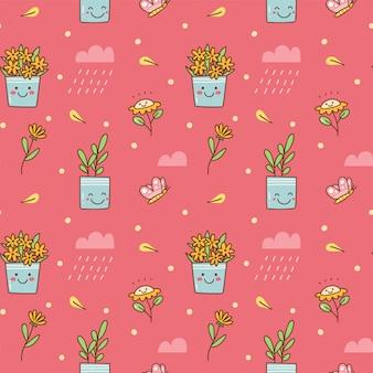 Fond sans couture de fleurs kawaii