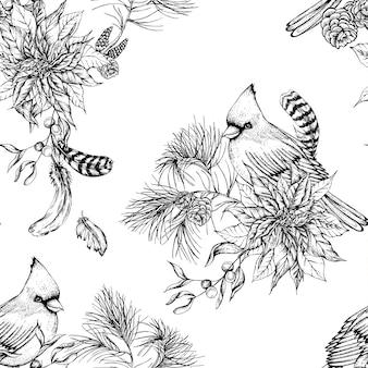 Fond sans couture florale vintage de noël