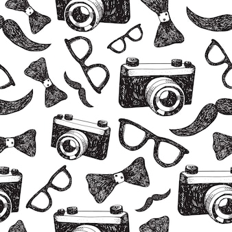 Fond sans couture de hipster mode dessiné à la main, modèle.