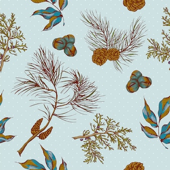 Fond sans couture vintage de noël avec des hiboux, des branches d'épinette