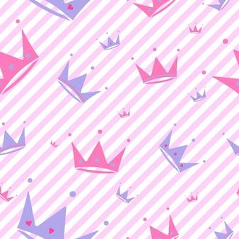 Fond sans fin avec des couronnes coeurs diadèmes rayures fond de vecteur rose romantique mignon lol style surprise décor pour les filles d'anniversaire des enfants emballage cadeau de fête fond rose