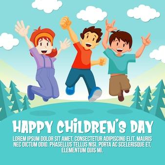 Fond de saut des enfants heureux