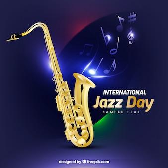 Fond saxophone avec des notes de musique