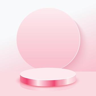 Fond de scène abstraite 3d en fond rose