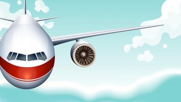 Fond de scène avec avion volant dans le ciel