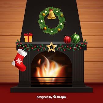 Fond de scène de cheminée réaliste
