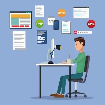 Fond de scène de couleur avec l'homme de développeur web dans le langage de programmation de bureau