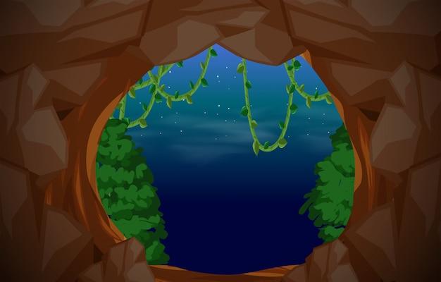 Fond de scène d'entrée de la grotte