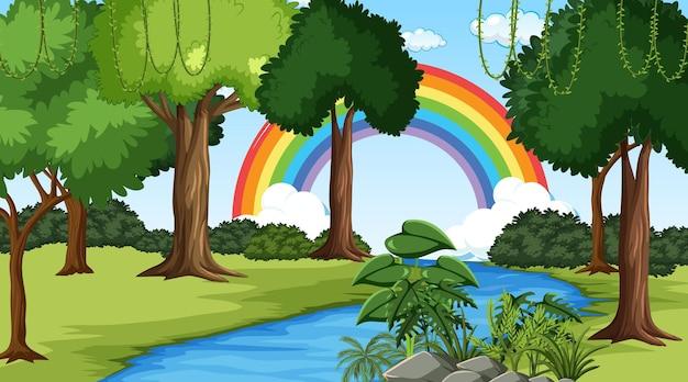 Fond de scène nature avec arc-en-ciel dans le ciel
