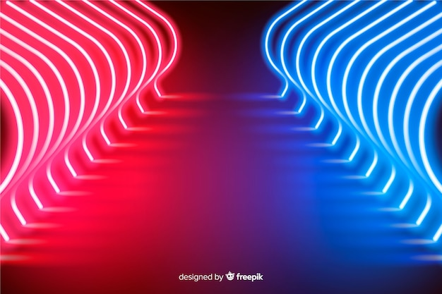 Fond de scène de néons rayonnants
