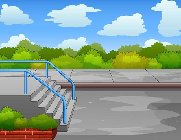 Fond de scène de parc avec escaliers