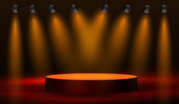 Fond de scène de rayons de lumières dorées