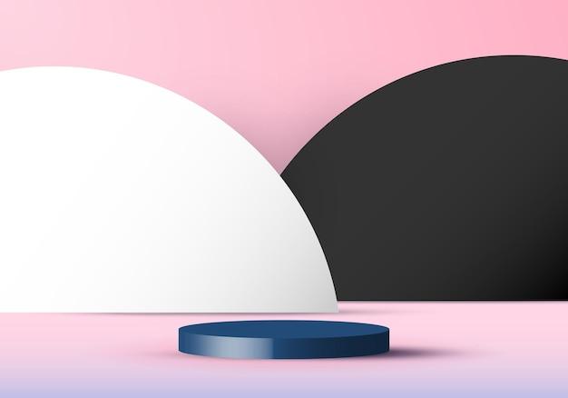 Fond de scène rose 3d avec podium cylindre blanc et cercle