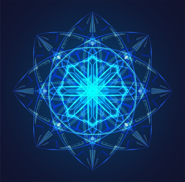 Fond de schéma atome bleu brillant