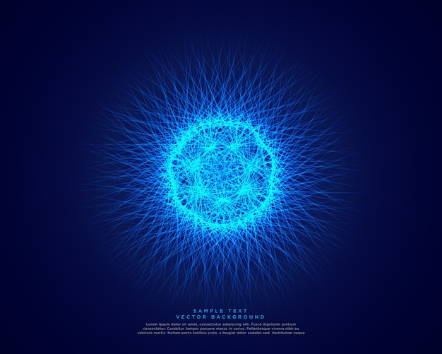 Fond de science abstrait bleu avec énergie atomique rougeoyante