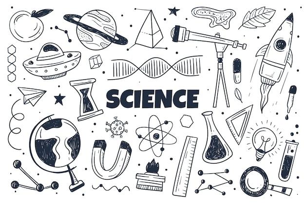 Fond de science dessiné à la main avec des éléments définis
