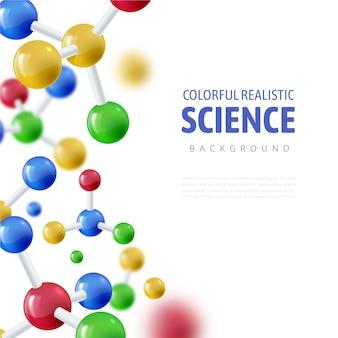Fond de science réaliste d'atomes colorés