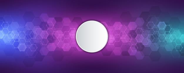 Fond de science et technologie avec motif hexagones