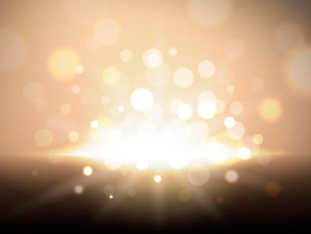 Fond scintillant doré, particules et scène de gloire brillante