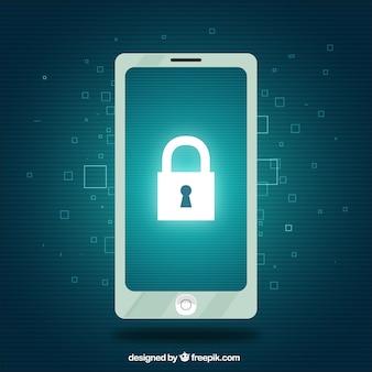 Fond de sécurité avec téléphone portable et cadenas