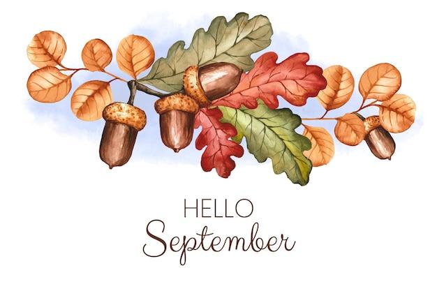 Fond de septembre bonjour aquarelle