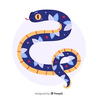 Fond de serpent floral dessiné à la main