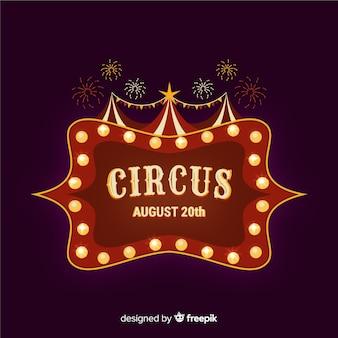 Fond de signe de lumière de cirque vintage