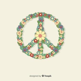 Fond de signe de paix floral