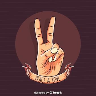Fond de signe de paix ruban main
