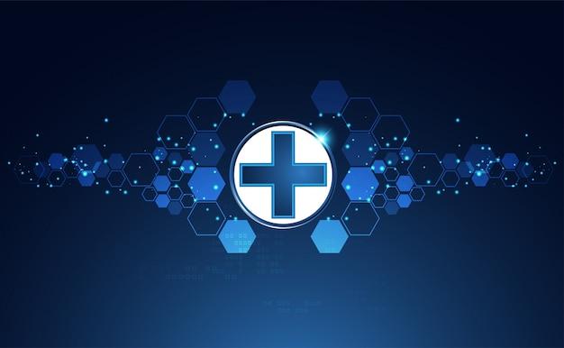 Fond de signe de santé brillant bleu