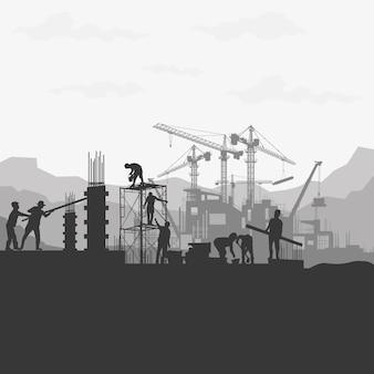 Fond de silhouette de construction.