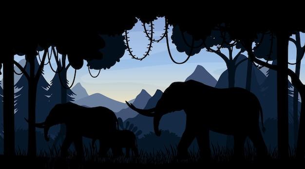 Fond de silhouette de paysage forestier