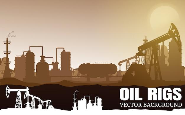 Fond de silhouettes de l'industrie pétrolier