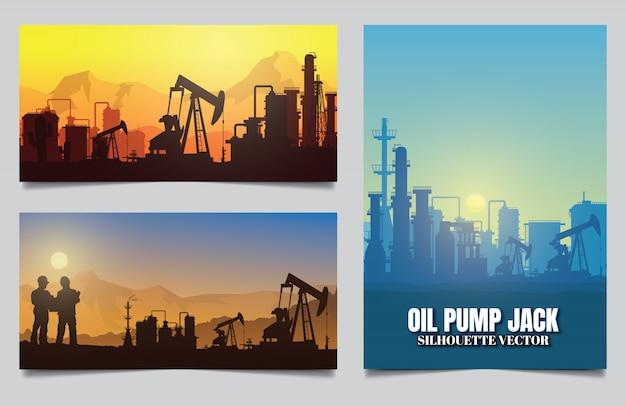 Fond de silhouettes de l'industrie pétrolière.