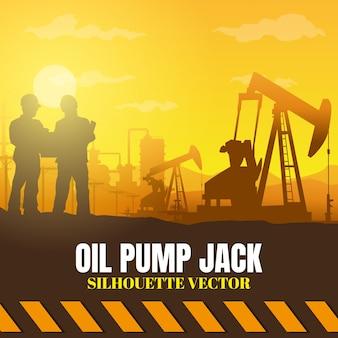 Fond de silhouettes de l'industrie de plate-forme pétrolière.