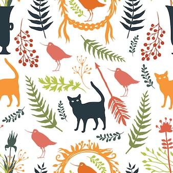 Fond avec des silhouettes d'oiseaux et de chats, de fleurs et de brindilles