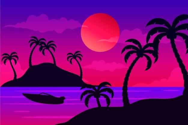 Fond de silhouettes de palmiers colorés