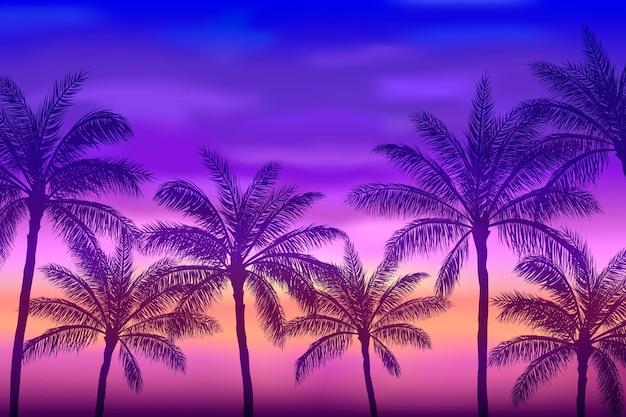 Fond de silhouettes de palmiers d'été